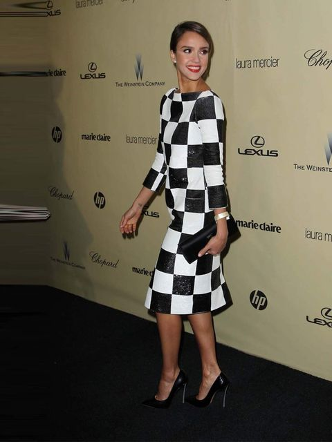 "<p><a href=""http://www.elleuk.com/star-style/celebrity-style-files/jessica-alba"">Jessica Alba</a> wears a black and white sequined dress from <a href=""http://www.elleuk.com/catwalk/designer-a-z/louis-vuitton/spring-summer-2013"">Louis Vuitton's Spring Summ"
