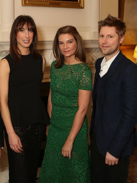<p>Samantha Cameron, Natalie Massenet and Christopher Bailey at Downing St.</p>