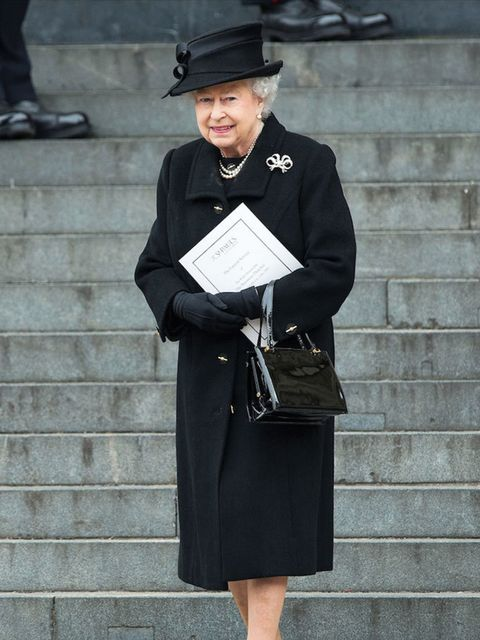 Queen Elizabeth attends the leaves the ceremonial funeral service of former British Prime Minister Margaret Thatcher at St Paul's Cathedral.