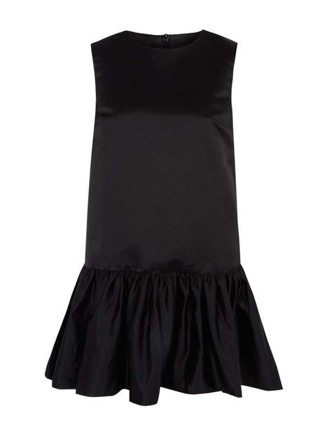 "<p>EDIT dress, £225 at <a href=""http://www.liberty.co.uk/fcp/product/Liberty//Black-Sleeveless-Satin-Peplum-Mini-Dress-/116100"" target=""_blank"">Liberty</a></p>"