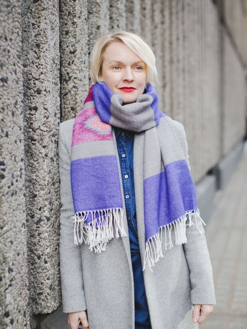 <p>Lorraine Candy - Editor-in-Chief.</p>  <p>Freda at Matches coat, MiH dress, Superdry scarf.</p>
