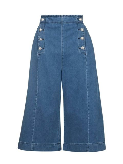 """<p>Denim with a nautical spin.</p>  <p><a href=""""http://www.topshop.com/en/tsuk/product/new-in-this-week-2169932/new-in-this-week-493/moto-nautical-button-culottes-4230357?bi=201&ps=200"""" target=""""_blank"""">Topshop</a> culottes, £40</p>"""