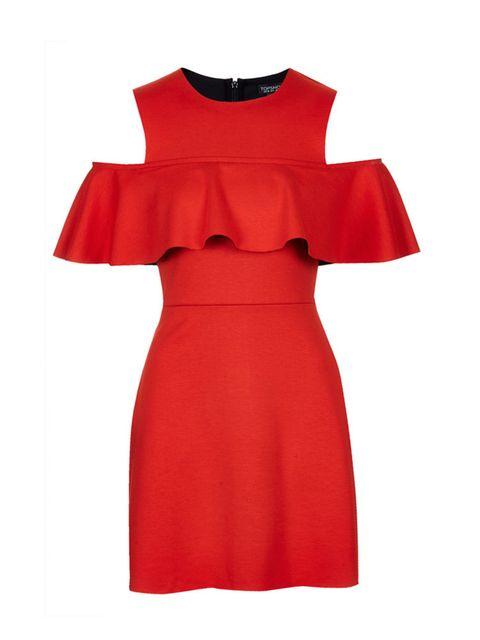 "<p><a href=""http://www.topshop.com/en/tsuk/product/clothing-427/dresses-442/frilly-cold-shoulder-dress-4043029?refinements=Colour%7b1%7d~%5bred%5d&bi=1&ps=20"" target=""_blank"">Topshop</a> dress, £45</p>"