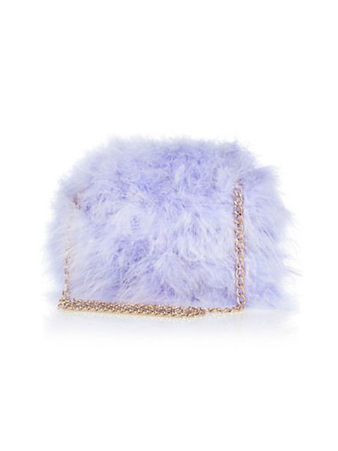 "<p>Candy coloured faux fur is a must for a/w 2014. <a href=""http://www.riverisland.com/women/bags--purses/cross-body-bags/Lilac-feather-cross-body-bag-652186"">River Island, £30</a>.</p>"