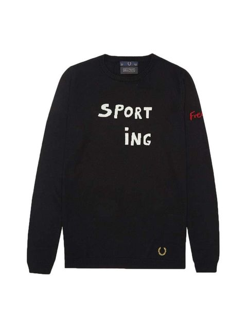 "<p>Bella Freud's off-kilter slogans meet Fred Perry's iconic sporty silhouettes. We'll take it all.</p>  <p> </p>  <p><a href=""http://www.fredperry.com/laurel-wreath-collection/women/bella-freud/bella-freud-sporting-fred-sweater-sk5291.html"" target=""_blan"