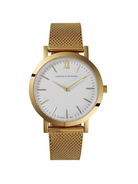 "<p>Be fashionably on time, for a change.</p>  <p> </p>  <p><a href=""https://www.larssonandjennings.com/shop/liten/liten-gold/"" target=""_blank"">Larsson & Jennings</a> watch, £215</p>"
