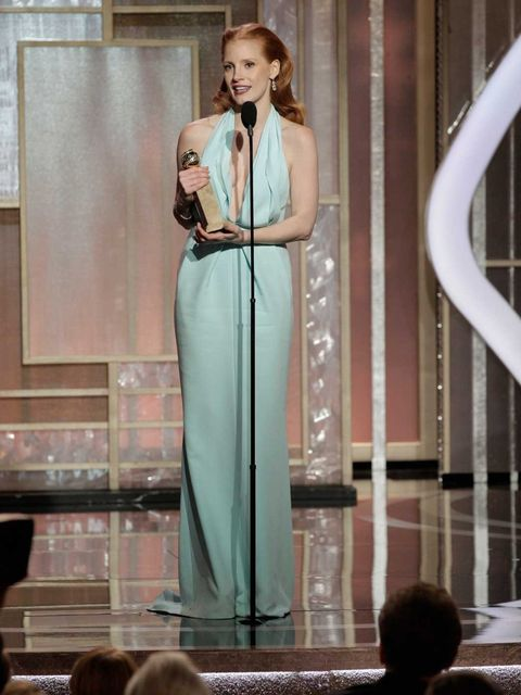 <p>Jessica Chastain collects her Best Actress award</p>
