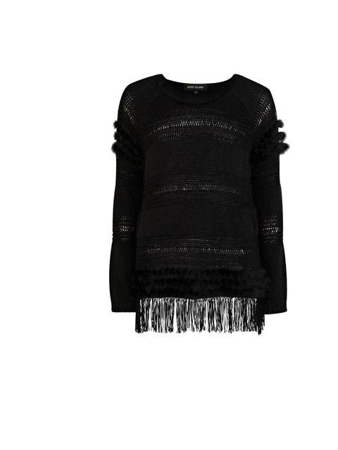 "<p><a href=""http://www.riverisland.com/Online/women/knitwear/jumpers/black-faux-fur-and-tassel-jumper-623863"">River Island</a> tassel sweater, £45</p>"
