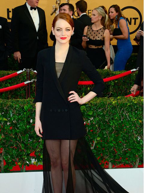 """<p><a href=""""http://www.elleuk.com/tags/emma-stone"""">Emma Stone</a> wears Christian Dior Couture at the 2015SAG Awards.</p>"""