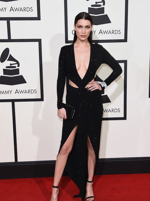 Bella in an amazing Alexandre Vauthier Paris dress and Bvlgari clutch at the 2016 Grammys.