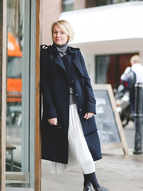 <p>Lorraine Candy<br /> Editor-in-Chief</p>  <p>Erdem coat, Jigsaw skirt, Cos polo neck, Topshop shoes and Tom Ford sunglasses.</p>
