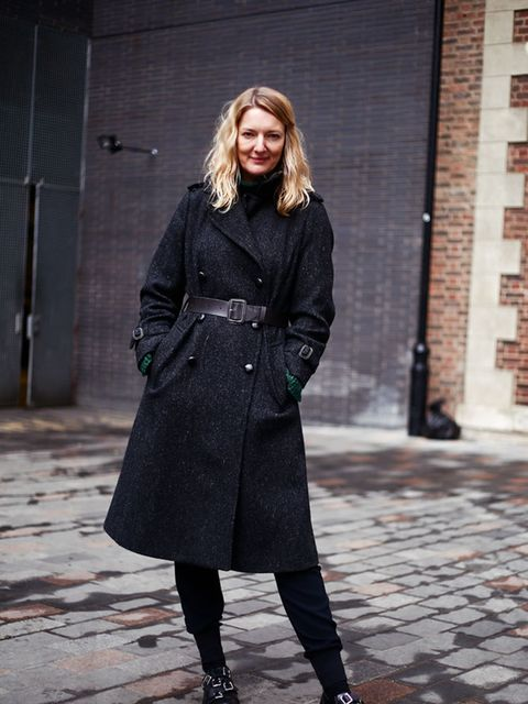 <p>Rebecca Lowthorpe – ELLE Collection Editor/Assistant Editor ELLE</p>  <p>Margaret Howell coat, Alexander McQueen jumper, Stella McCartney trousers, Comme des Garcons shoes</p>