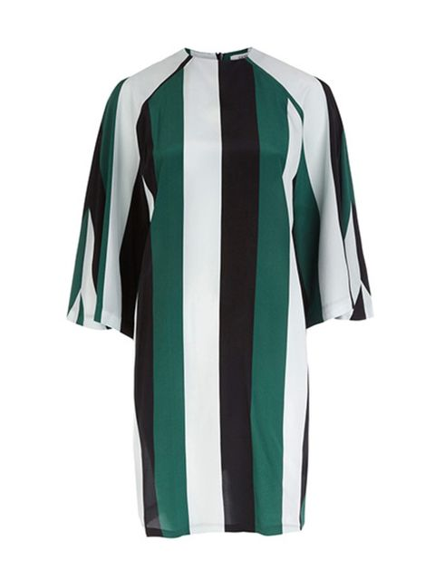 "<p>Block stripe dress, £200, <a href=""http://www.liberty.co.uk/fcp/product/Liberty//Green-Block-Stripe-Flared-Sleeve-Shift-Dress/135111"">Ganni at Liberty</a></p>"