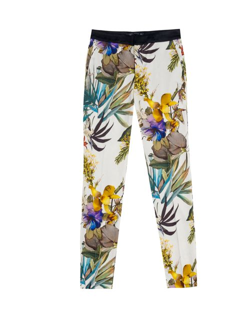 """<p><a href=""""http://www.zara.com/webapp/wcs/stores/servlet/product/uk/en/zara-S2012/189505/776517/PRINTED%2BTROUSERS%2BWITH%2BCONTRASTING%2BWAIST"""">Zara</a> floral print trousers, £39.99</p>"""