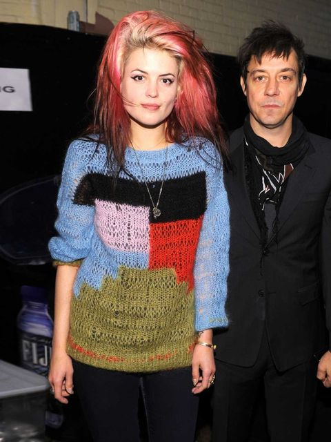 <p>Alison Mosshart with bandmate Jamie Hince at the Marc Jacobs collection backstage in New York, February 2012.</p>