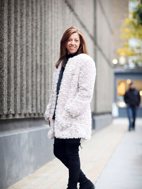 Kirsty Dale - Executive Fashion & Beauty Director. Marks & Spencer coat, All Saints jacket, Topshop blouse, Zara trousers.