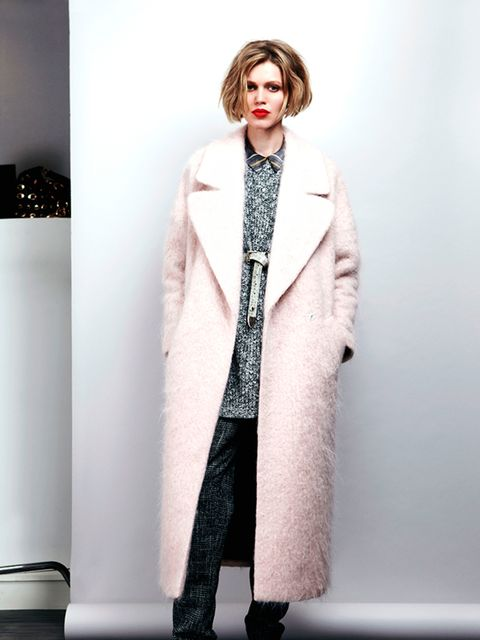 Wool-mix maxi coat, £120, cotton-mix jumper dress, £40, flatform plimsolls, £24 and tweed trousers, £40  All River Island