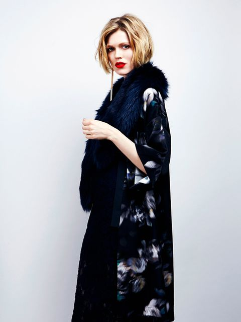 Velvet kimono, £40, lace hemmed dress, £38, faux fur scarf, £35 and metal earrings, £8  All River Island