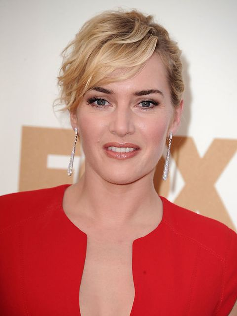 <p>Kate Winslet works a pretty wavy texture into to her Emmys up-do</p>