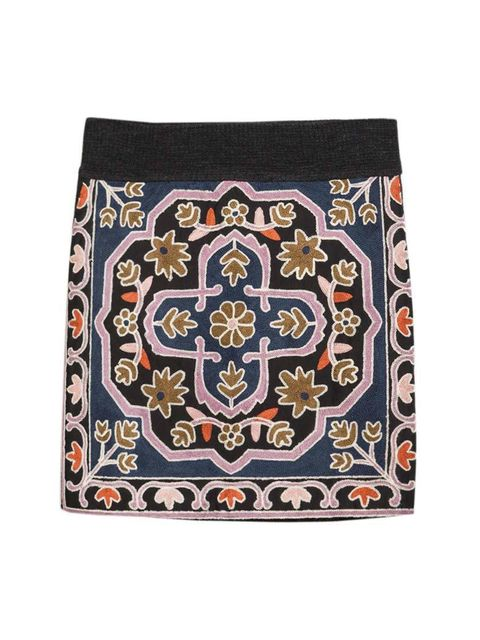"<p>Acting Commissioning Editor Georgia Simmonds will pair this embroidered skirt with a chunky knit and black opaques.</p>  <p><a href=""http://www.zara.com/uk/en/woman/skirts/embroidered-geometric-knit-skirt-c269188p2336545.html"" target=""_blank"">Zara</a>"