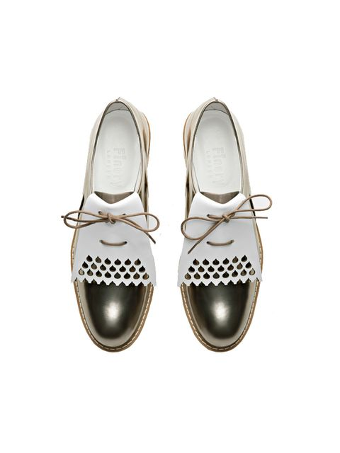 """<p><a href=""""https://www.finerylondon.com/uk/products/inglewood-lace-up-spat-silver"""" target=""""_blank"""">Finery</a> brogues, £109</p>"""