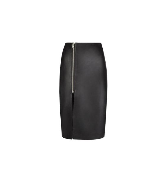 "<p>A thigh split skirt might sound scary - especially if it's leather - but worn the right way it is a recipe for sexy chic. Try <a href=""http://www.allsaints.com/women/skirts/allsaints-amer-skirt/?colour=5&amp&#x3B;category=490"">All Saints</a>' 'Amer' skirt w"