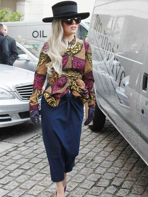 """<p><a href=""""http://www.elleuk.com/news/star-style-news/lady-gaga-wears-best-of-british/(gid)/830203"""">Lady Gaga wore a Burberry outfit </a>around London.</p>"""