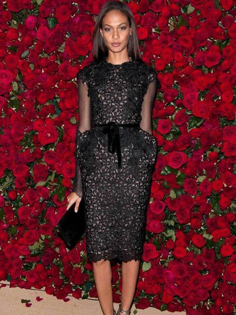 """<p><a href=""""http://www.elleuk.com/news/fashion-news/freja-steps-out-of-the-frame-for-chanel-ads"""">Model Joan Smalls</a> wore a black lace dress by Tom Ford to <a href=""""http://www.elleuk.com/starstyle/special-features/(section)/museum-of-modern-art-film-ben"""
