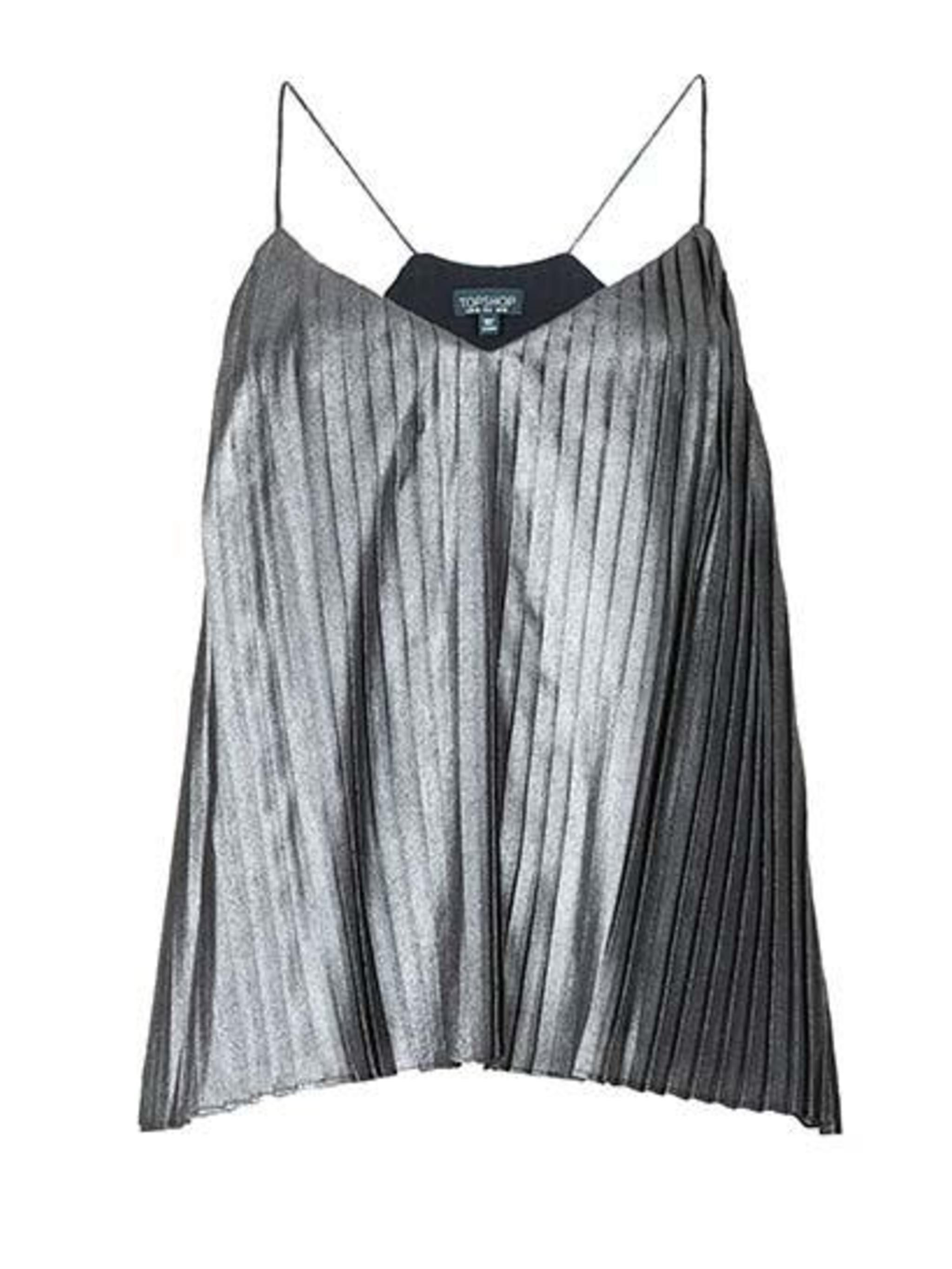 "<p><a href=""http://www.topshop.com/en/tsuk/product/clothing-427/tops-443/metallic-pleat-cami-3306590?bi=1&ps=20"">Topshop</a> metallic tank top, £28</p>"