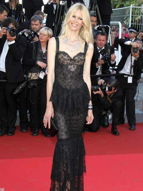 """<p><a href=""""http://www.elleuk.com/content/search?SearchText=Claudia+Schiffer&amp&#x3B;SearchButton=Search"""">Claudia Schiffer</a> wearing a black lace gown at the Cannes Film Festival, May 2011</p>"""