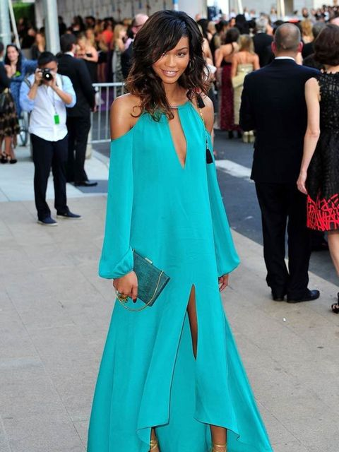 """<p><a href=""""http://www.elleuk.com/starstyle/style-files/(section)/chanel-iman"""">Chanel Iman</a> stunned in a flowing turqouise <a href=""""http://www.elleuk.com/catwalk/collections/max-azria/autumn-winter-2011/collection"""">Max Azria</a> gown at The CFDA Awards"""