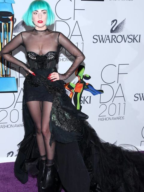 """<p><a href=""""http://www.elleuk.com/starstyle/style-files/(section)/lady-gaga"""">Lady Gaga</a> picked up the fashion icon award in a custom made <a href=""""http://www.elleuk.com/catwalk/collections/mugler/autumn-winter-2011/collection"""">Thierry Mugler</a> corset"""