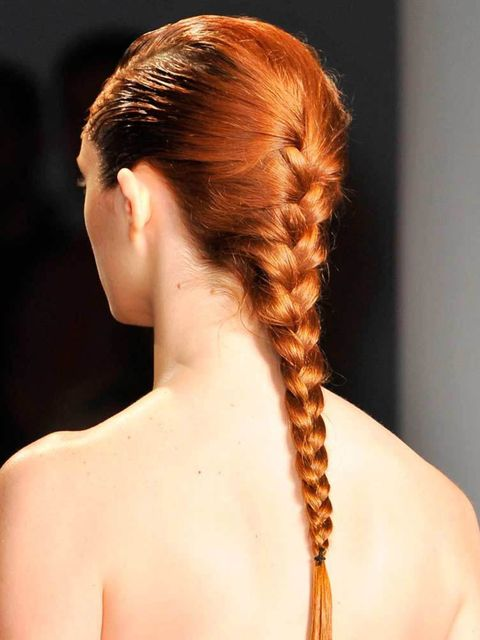 "<p>Peter Som</p>  <p>The look: Elegant braids</p>  <p>Hairstylist: Eugene Souleiman</p>  <p>Key product: Plenty of <a href=""http://www.wella.com/professional/en-EN/home"" target=""_blank"">Wella Professionals</a> Mousse</p>  <p>Top tip: Use three egg-sized d"