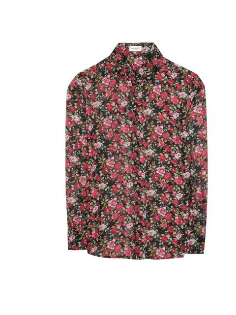 """<p>..and stick with the theme by wearing a patterned shirt tied around your waist or unbuttoned.</p><p>We love this floral one from Saint Laurent, £629 available at <a href=""""http://www.mytheresa.com/en-gb/floral-print-wool-and-silk-blend-shirt-239110.html"""