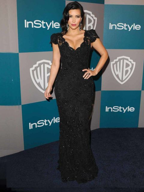 <p>Kim Kardashian at a Golden Globes after-party</p>