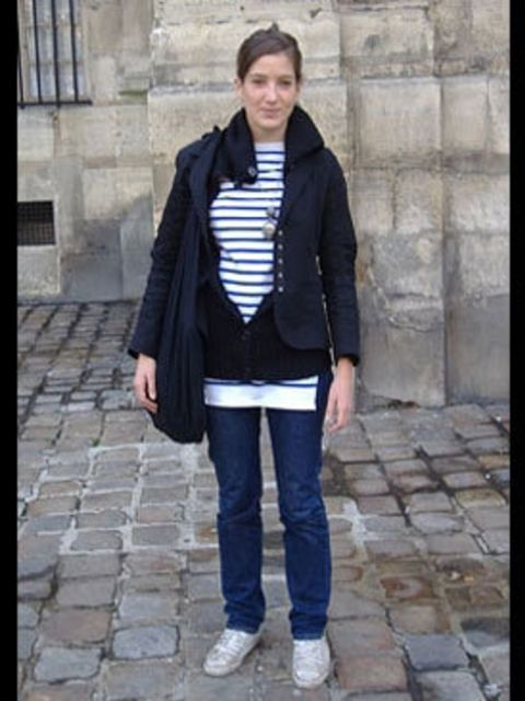 <p>Who cares what the weather's like? Margaux goes to sea in sailor stripes.</p>