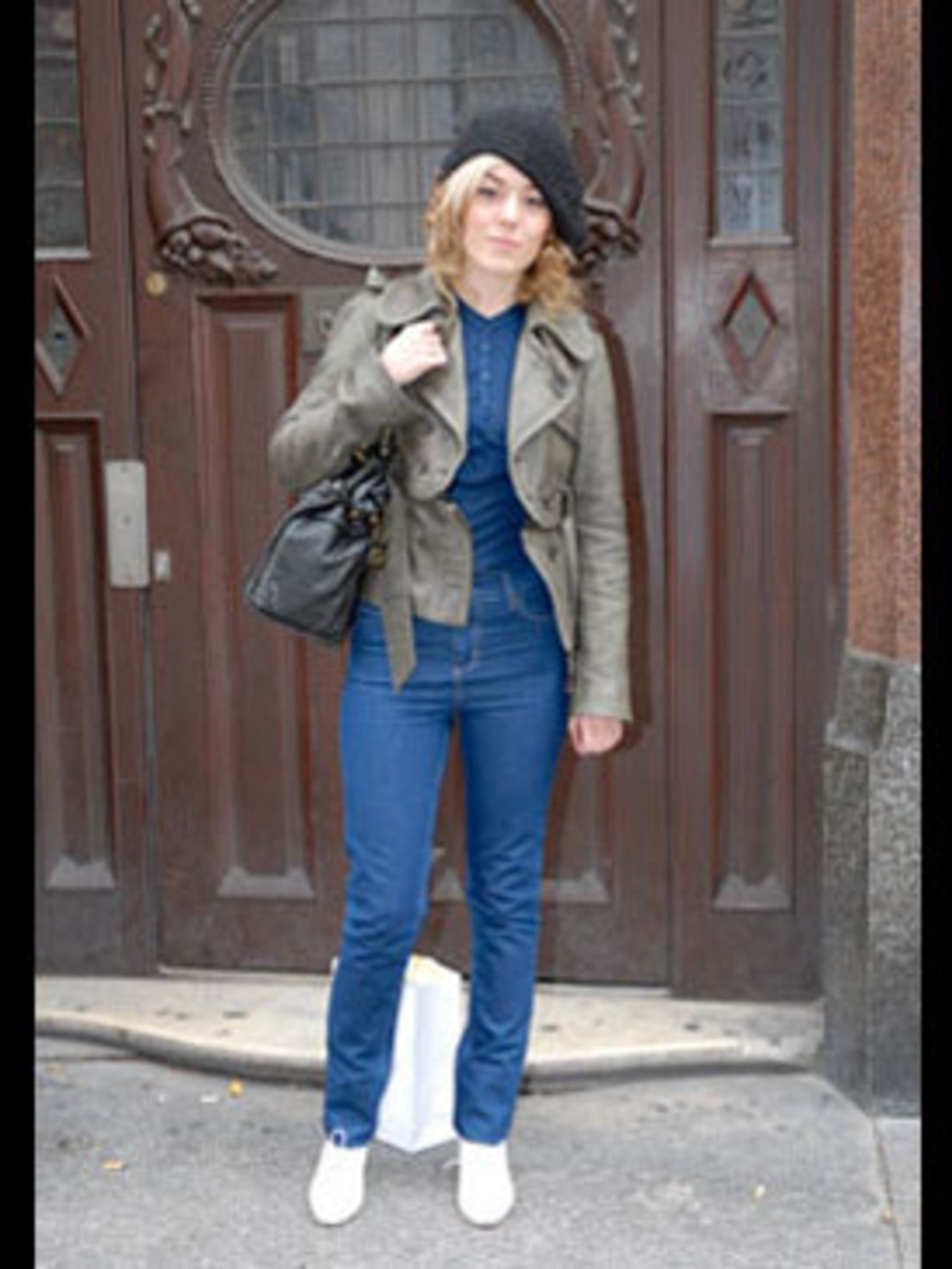 <p>Caroline is rocking a quirky yet chic style. The key to her fabulous look? Combining designer pieces such as her simple Vanessa Bruno T-shirt with high end high street items. Her fabulous leather jacket is from All Saints. She makes a real statement by