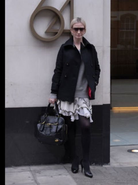 <p>Executive Fashion Editor Stacey Duguid likes to mix things up. She's teamed this Uniqlo cashmere sweater with an uber girly sequined Temperley skirt – a clever way to wear shine during the day. She adds edge with designer accessories - a black Chloe ba