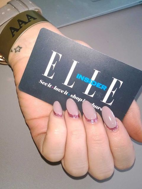 "<p>Amy Lawrenson had a glitter/beige upside down french, by Nails Inc. Fancy trying it out? You can get 30% off all Nails Inc treatments if you're an <a href=""http://www.elleuk.com/fashion/news/become-and-elle-insider-membership-subscriber-club-discount-o"
