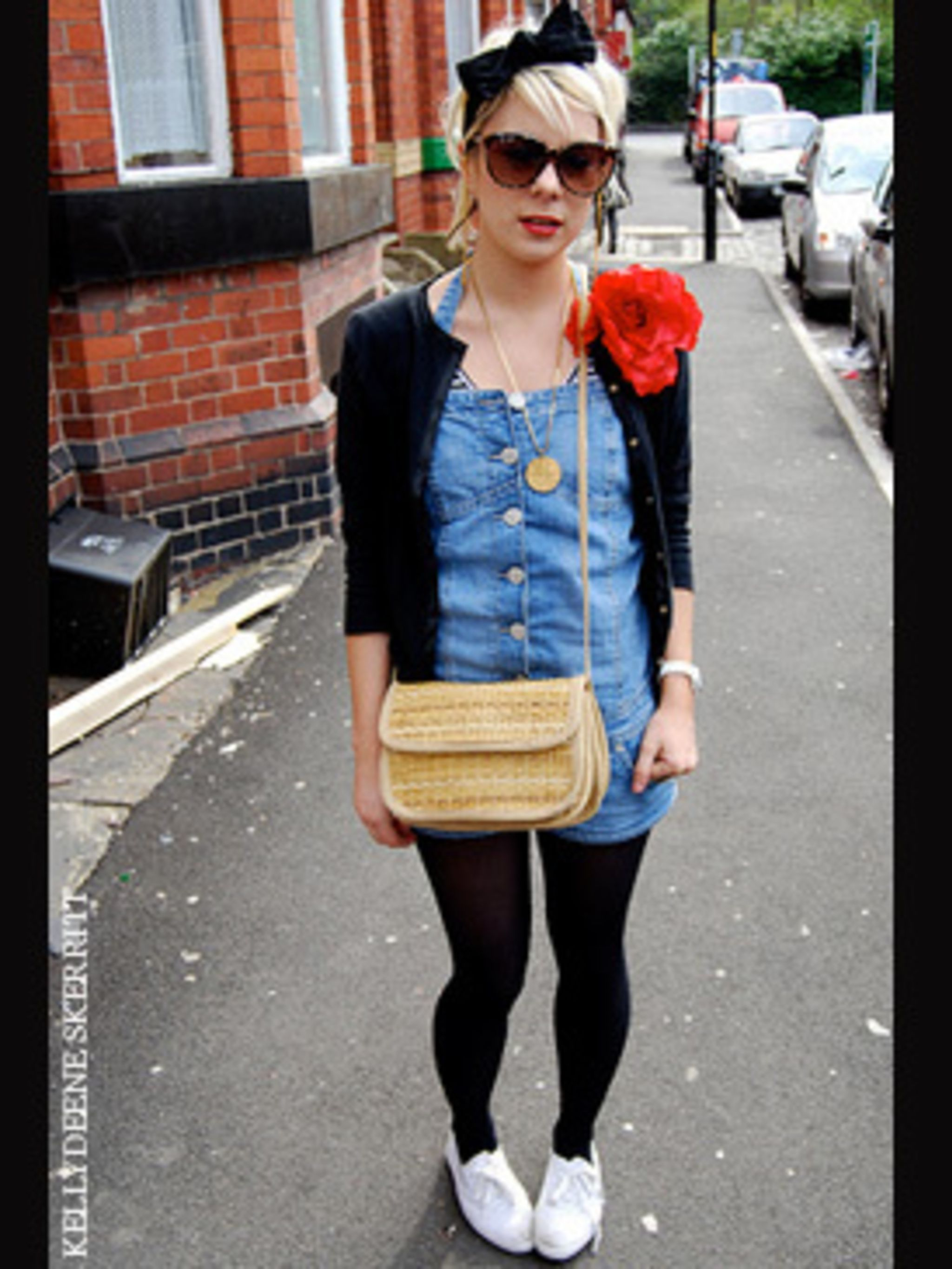 <p>This look ticks so many summer trend boxes: jumpsuit, check. Raffia bag, check. Floral corsage (very SATC), check. And, of course, headband, check. This eclectic layered look is a great way to stay summery and prepared for changing weather. And note of