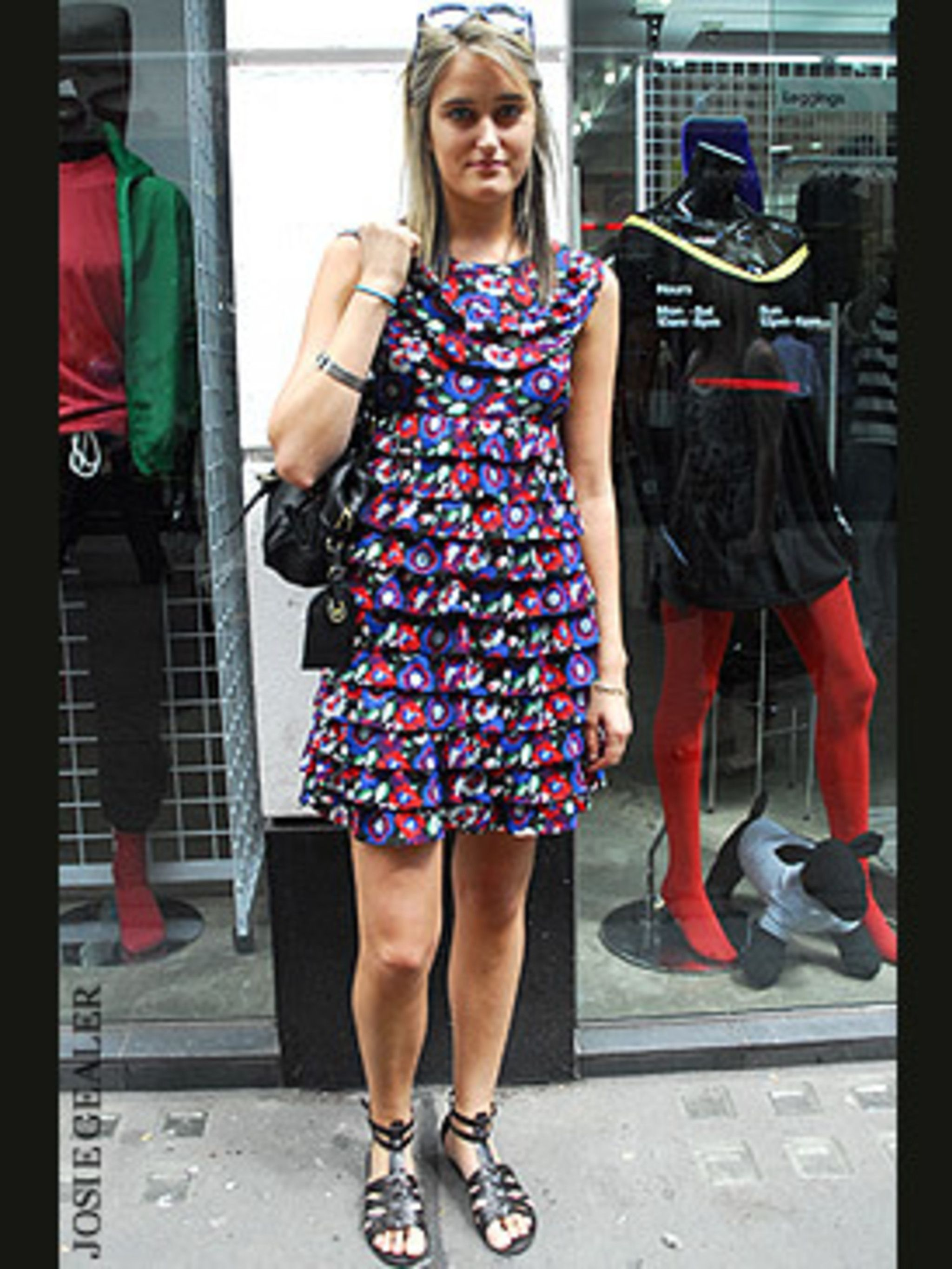 <p>This look ticks all the key summer trend boxes. Violet's bold ruffled dress taps neatly into this season's romantic trend, complete with must-have floral print. Note the way she's balanced out the prettiness of the dress with a pair of edgy gladiator s