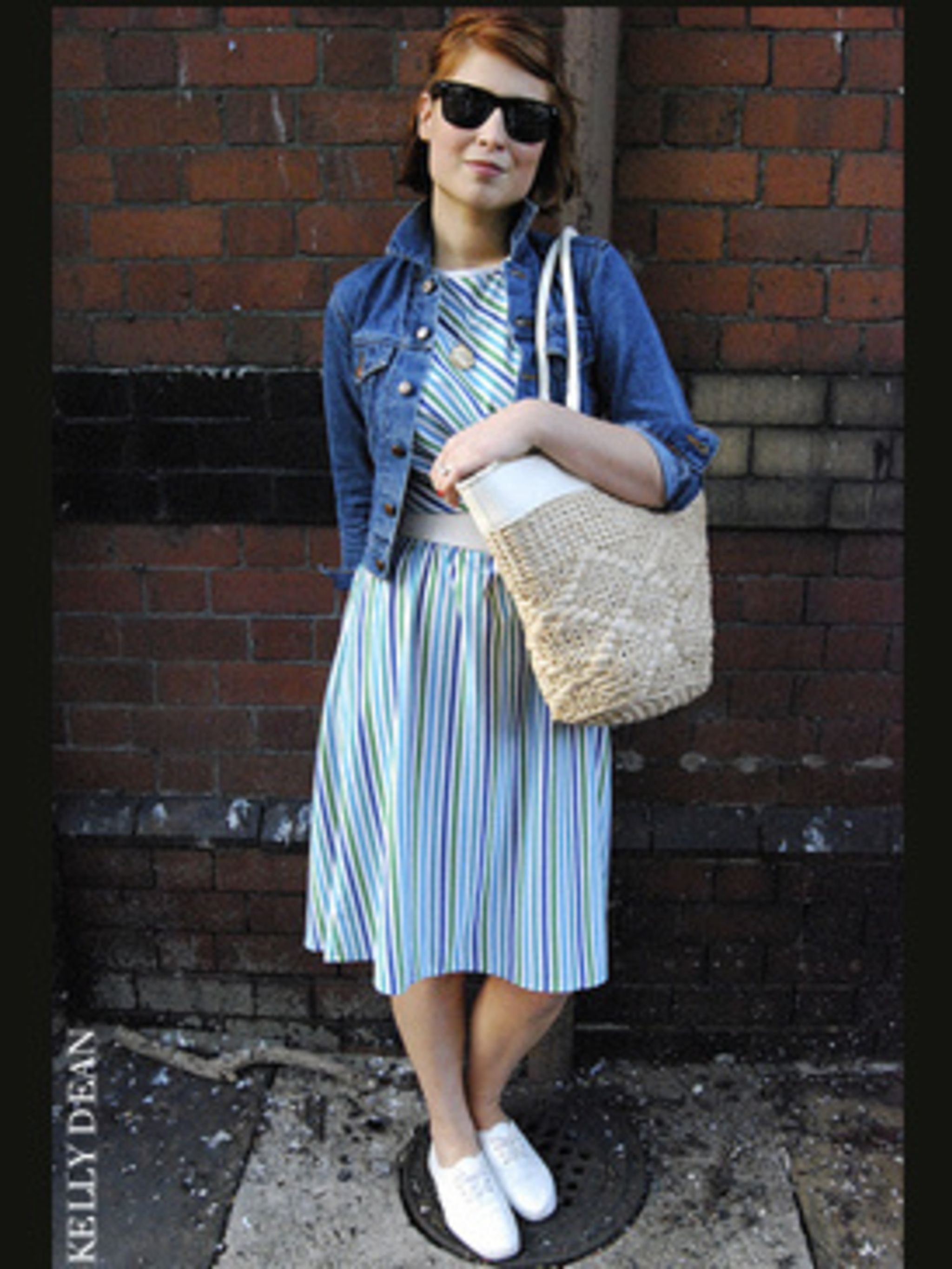 <p>Effortlessly cool, Harriet has opted for a distinctly retro look with her vintage candy striped dress. The addition of a denim jacket - collar turned up of course - straw bag and white pumps is a great way to do nautical without looking like a sailor.