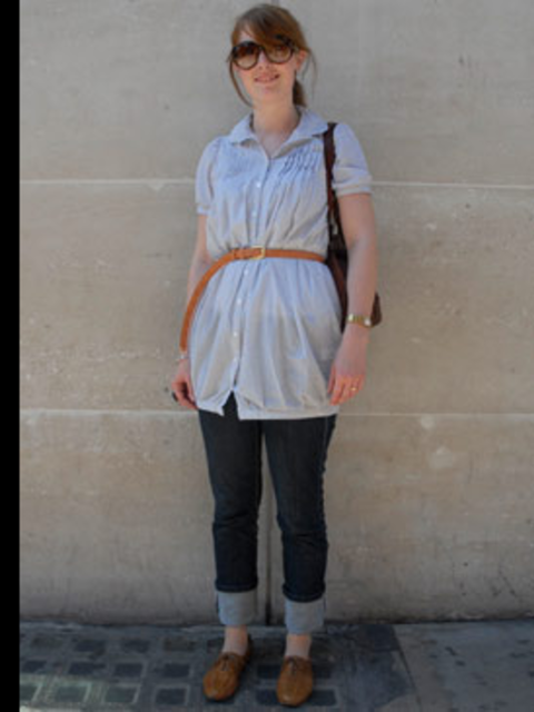 <p>Whatever the current season's trends dictate, a mannish cotton shirt is always the chicest way to keep your cool in summer. Make like Ann Marie and use a skinny leather belt to highlight your waist then simply team with your favourite jeans and some so