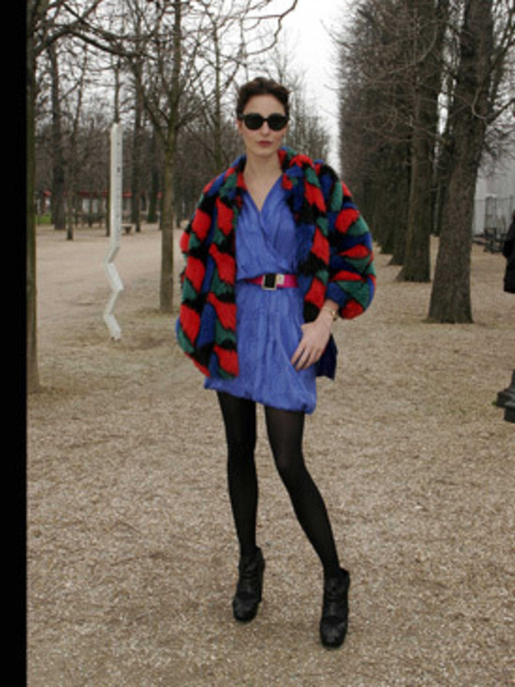 <p>This bold outfit is daring but works because the proportions are just right - she has teamed an oversize jacket with a mini dress to balance out the look.</p>