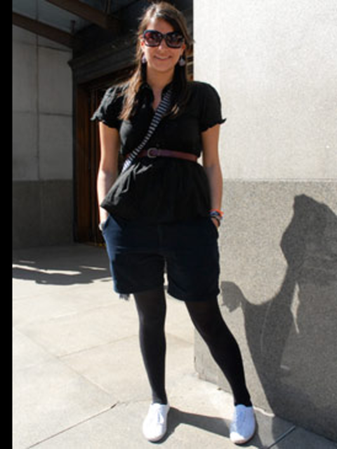 <p>Preppy tailored shorts are fast becoming a summer classic. Lauren has paired hers with a cotton blouse and plimsols and uses her skinny tan belt to nip in her waist creating an instantly more flattering silhouette.</p>