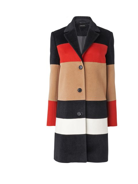 """<p>Espe de la Fuente, Fashion Assistant: 'I love the retro, graphic colours and shape of this coat. And coats are always good investment in the sales.'Jaeger colour block coat, was £399 now £325<a href=""""http://shopping.elleuk.com/browse?fts=jaeger+colour+"""