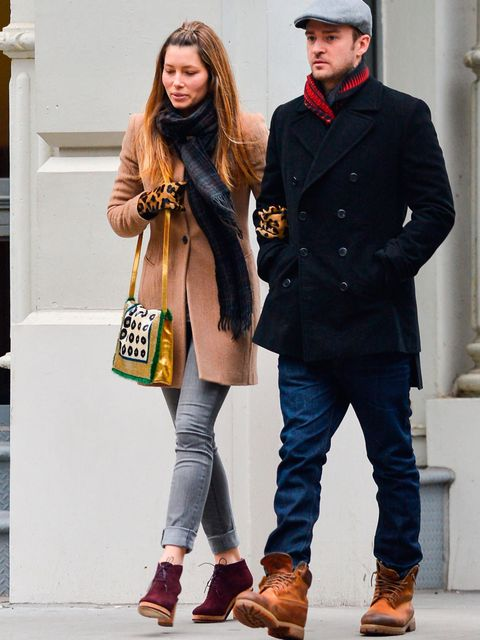 <p>Jessica Biel in her camel Nikol coat whilst out in NYC, March 2013.</p>