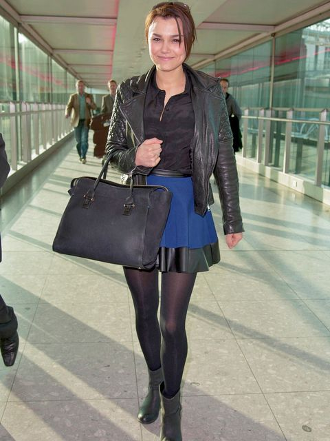 <p>Samantha Barks wears her Walker leather jacket whilst out and about, March 2013.</p>