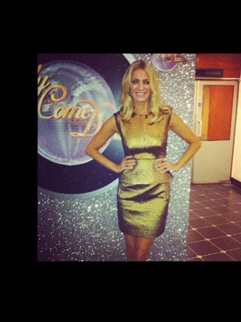 <p>Tess Daly in Diane Von Furstenberg's delian dress.</p>
