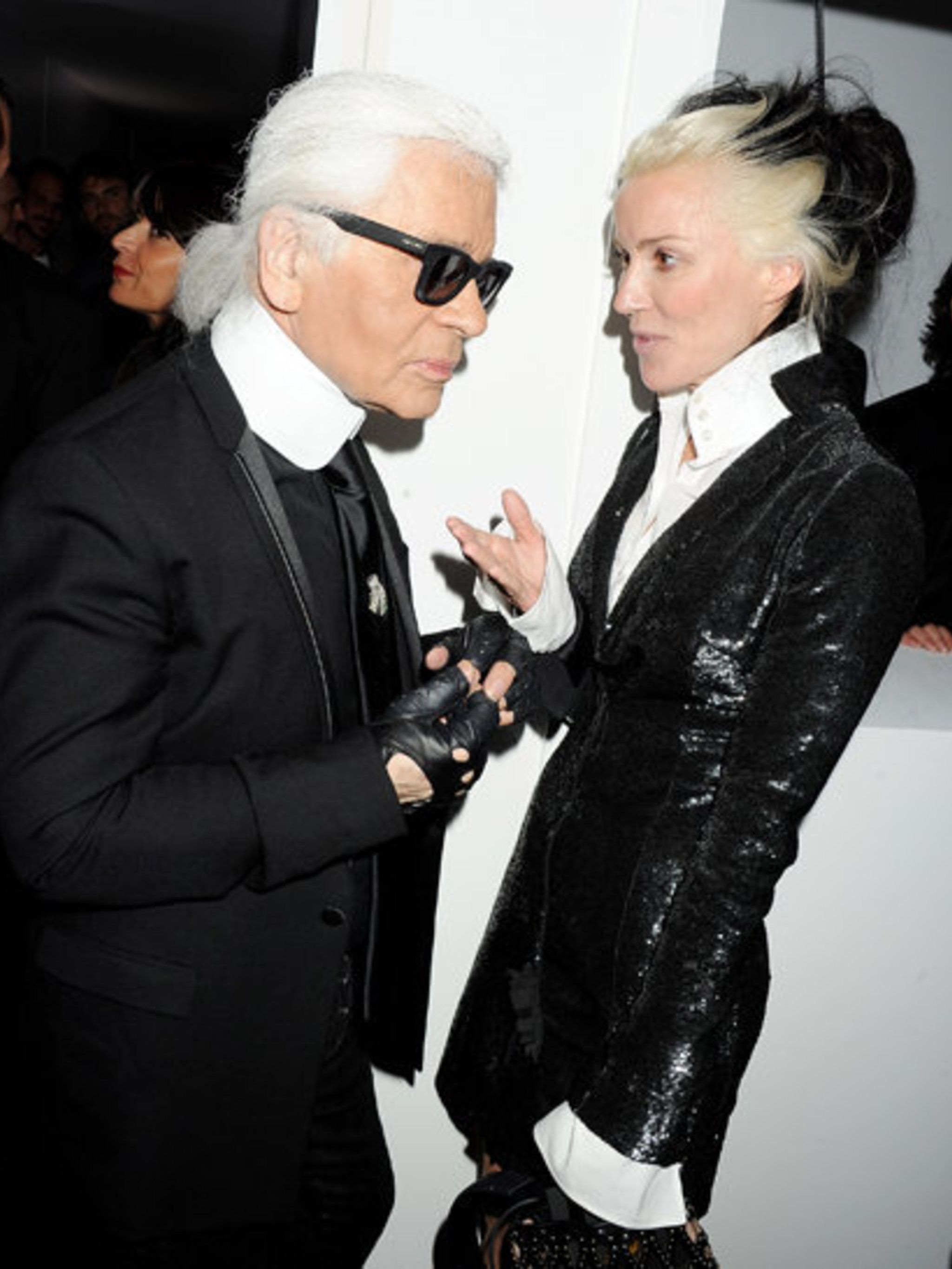 <p>Karl Lagerfeld and Daphne Guinness at the Selfridges launch party</p>